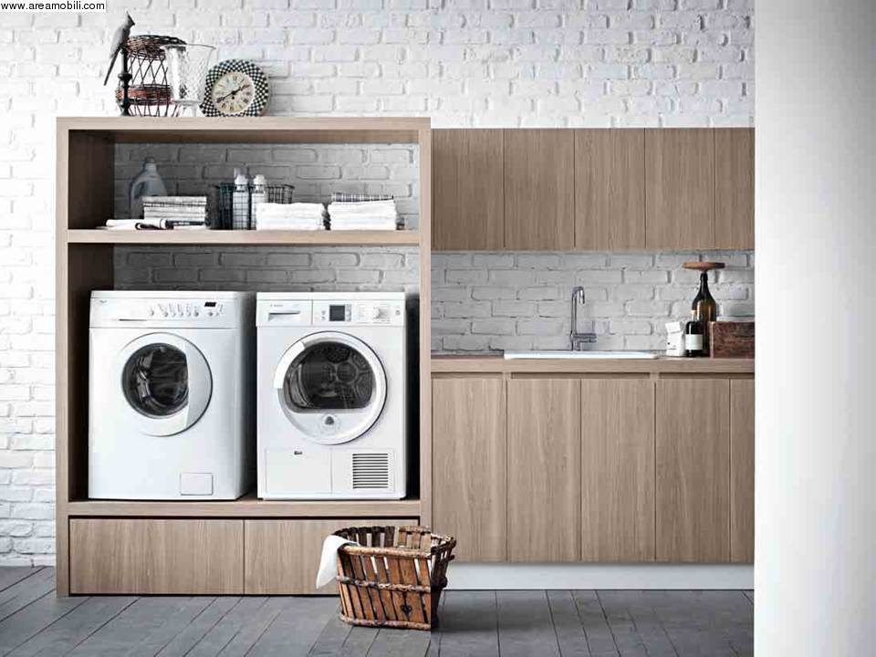 Cod.21281 - lavatrice e asciugatrice in un solo mobile lavanderia