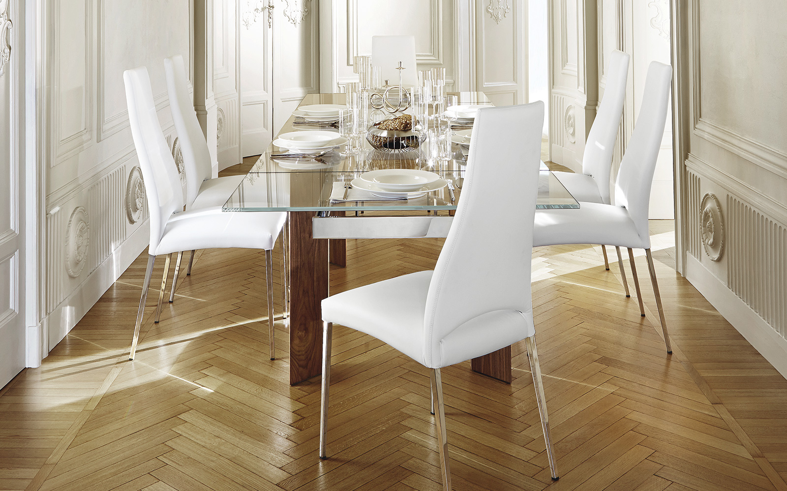 Tavolo Calligaris Tower Wood gambe legno noce