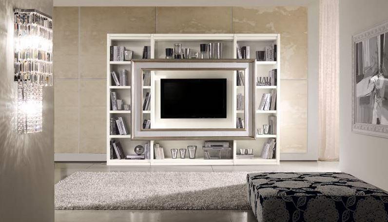 Porta Tv Cornice Argento.Libreria Porta Tv Con Cornice E Libreria In Foglia Argento