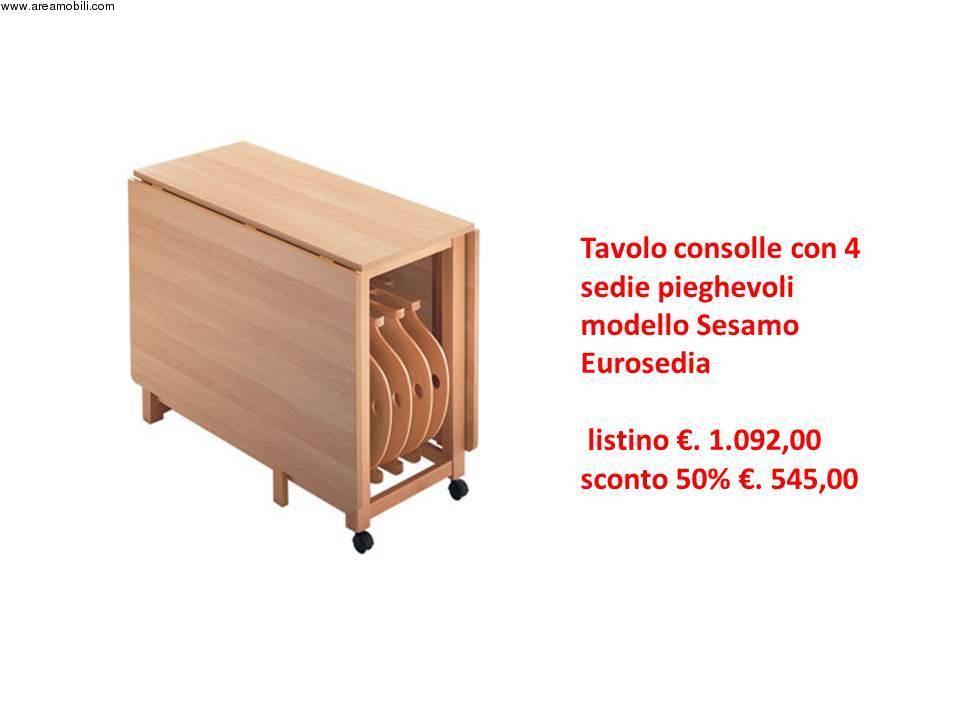 Tavolo pieghevole con sedie pieghevoli for Tavolo consolle con sedie