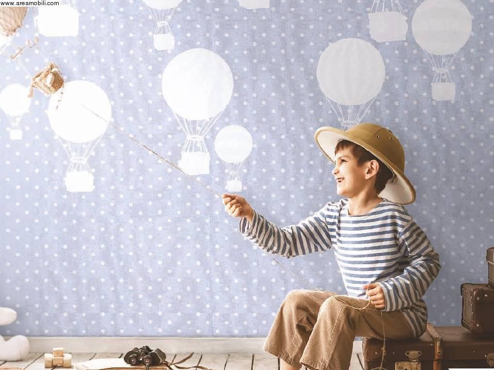 Carta da parati azzurra per cameretta for Carta da parati bambini